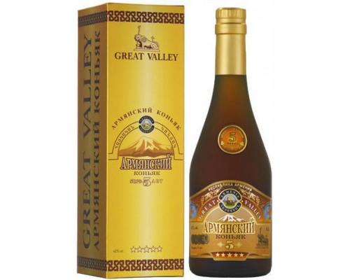 Армянский коньяк Грейт Велли 5 Звезд в подарочной коробке 0.5 л