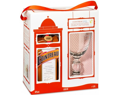 Ликер Cointreau gift box with cocktail glass 0.7 л