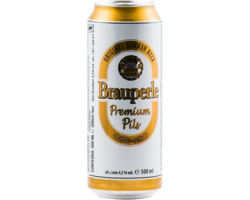 Пиво Brauperle Premium Pils in can 0.5 л