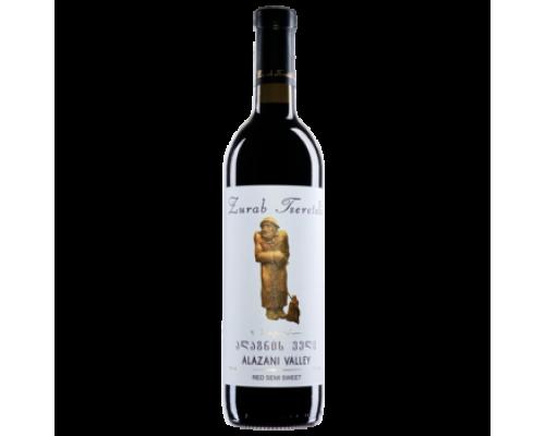 Вино Зураб Церетели Алазанская Долина красное полусладкое 0,75 л