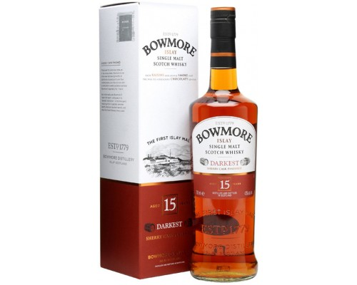 Виски Bowmore Darkest 15 years old gift box 0.7 л