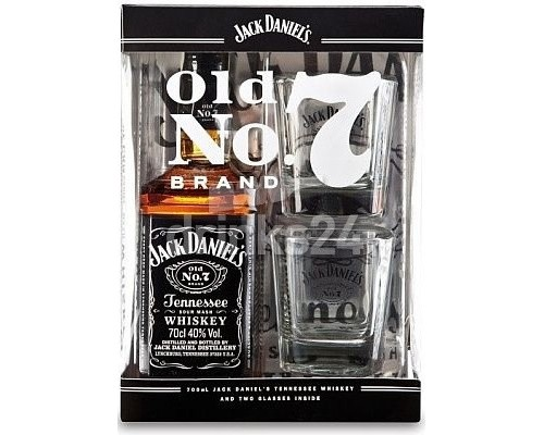 Виски Jack Daniels in box with 2 glasses 0.7 л